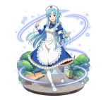 1girl :d apron armband asuna_(sao-alo) bandage blue_dress blue_eyes blue_footwear blue_hair breasts dress faux_figurine floating_hair full_body hat heart heart_print holding long_hair looking_at_viewer mary_janes medium_breasts necktie nurse nurse_cap open_mouth pointy_ears red_neckwear shoes short_necktie simple_background smile solo standing sword_art_online very_long_hair white_apron white_background white_legwear