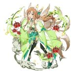 1girl :d animal_ears asuna_(sao) black_legwear boots breasts brown_eyes brown_hair choker cleavage detached_sleeves floating_hair flower fox_ears fox_tail full_body fur_trim green_footwear high_heel_boots high_heels japanese_clothes leaning_forward long_hair looking_at_viewer medium_breasts multiple_tails open_mouth red_flower simple_background smile solo standing sword_art_online tail thigh-highs very_long_hair white_background