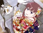 1girl absurdres animal_print blush brown_hair butterfly_print calico cat floral_print fur hair_ribbon highres holding holding_cat japanese_clothes just_because! kimono looking_at_viewer megami_deluxe natsume_mio official_art open_mouth outdoors pink_ribbon print_kimono print_obi print_ribbon red_kimono ribbon seiza shikibu_miyoko sitting smile violet_eyes yellow_eyes