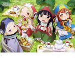 4girls :d ;d absurdres artist_request bangs barefoot basket black_eyes black_hair black_hat blonde_hair blue_hat blush brown_eyes brown_hair chocolate_chip_cookie cookie cup day dress fang fingernails food grass green_hat green_skirt hakumei_(hakumei_to_mikochi) hakumei_to_mikochi harp hat highres holding holding_cookie holding_food holding_instrument holding_mug instrument japanese_clothes kimono konju_(hakumei_to_mikochi) long_hair long_sleeves looking_at_viewer low_ponytail megami_deluxe mikochi_(hakumei_to_mikochi) mug multiple_girls official_art on_grass one_eye_closed open_mouth outdoors parted_lips pink_hat ponytail puffy_short_sleeves puffy_sleeves red_eyes short_kimono short_sleeves silver_hair sitting skirt smile teapot thick_eyebrows very_long_hair violet_eyes white_dress white_kimono wide_sleeves