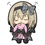1girl :< bangs black_dress black_footwear black_hairband black_wings blush_stickers boots bow chibi closed_eyes closed_mouth commentary_request dark_feather_alma dress emil_chronicle_online eyebrows_visible_through_hair facing_viewer full_body grey_bow hair_between_eyes hairband juliet_sleeves light_brown_hair long_hair long_sleeves pantyhose plaid plaid_bow plaid_ribbon puffy_sleeves purple_legwear ribbon rinechun simple_background solo standing striped striped_legwear v-shaped_eyebrows white_background wings