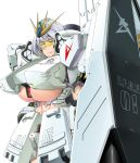 1girl abs absurdres armor bangs between_breasts blush breasts char's_counterattack clenched_teeth cowboy_shot embarrassed english eyebrows_visible_through_hair fin_funnels furrowed_eyebrows gundam headgear headpiece highres huge_breasts looking_away mecha_musume nu_gundam personification saizu_nitou_gunsou sanpaku shield short_hair silver_hair simple_background solo standing teeth under_boob visor white_background yellow_eyes