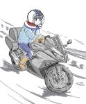 1girl blue_pants boots closed_mouth coat commentary_request driving gloves ground_vehicle helmet ishii_hisao jitome motor_vehicle motorcycle motorcycle_helmet pants shima_rin sitting sketch solo yurucamp