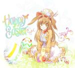 1girl animal_ears brown_eyes brown_hair bunny_girl bunny_tail easter easter_egg egg hat iesupa long_hair rabbit_ears rwby solo tail velvet_scarlatina