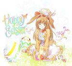 1girl animal_ears brown_eyes brown_hair bunny_girl bunny_tail easter easter_egg egg hat iesupa long_hair rabbit_ears rwby solo tail velvet_scarlatina