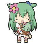 1girl :3 :d ^_^ bag blush_stickers boots brown_footwear cactus chibi closed_eyes closed_mouth commentary_request emil_chronicle_online facing_viewer flower full_body green_hair hair_flower hair_ornament holding kneehighs long_hair open_mouth pink_flower pink_skirt plaid plaid_bag plaid_footwear plant potted_plant puffy_short_sleeves puffy_sleeves rinechun shabotan_alma shirt short_sleeves shoulder_bag simple_background skirt smile solo standing striped striped_legwear two_side_up very_long_hair white_background white_shirt