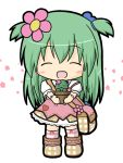 1girl :3 bag blush blush_stickers boots cactus closed_mouth commentary_request emil_chronicle_online facing_viewer flower full_body green_hair hair_flower hair_ornament holding long_hair outstretched_arms pink_flower pink_skirt plaid plaid_bag plaid_footwear plant potted_plant puffy_short_sleeves puffy_sleeves rinechun shabotan_alma shirt short_sleeves shoulder_bag simple_background skirt solo standing striped striped_legwear thigh-highs two_side_up very_long_hair white_background white_shirt  _ 