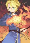 1boy ascot belt blonde_hair blue_coat burning_hand character_request closed_mouth copyright_request fire flame gradient gradient_background green_eyes hand_on_hilt hand_up kazuya_(743167) looking_at_viewer magic military military_uniform orange_background plant sheath sheathed solo sword uniform vines weapon