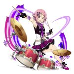 1girl :d ankle_ribbon armpits black_gloves black_ribbon bow drum drumsticks flower frilled_skirt frills gloves hair_bow holding index_finger_raised instrument lisbeth looking_at_viewer miniskirt open_mouth pink_hair pleated_skirt purple_bow purple_flower purple_ribbon purple_skirt red_eyes ribbon short_hair simple_background skirt sleeveless smile solo star sword_art_online white_background wrist_ribbon