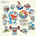 2020 2020_summer_olympics ball basketball bicycle boat boxing boxing_gloves cat doraemon doraemon_(character) football fujiko_f_fujio fujiko_pro kimono lowres multiple_boys no_humans official_art racket robot sakura sport sword tennis volleyball