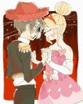 1boy 1girl alternate_hairstyle blonde_hair clairki10 closed_eyes dancing dress elbow_gloves facial_mark gloves hair_bun hairband hat heart heart_cheeks horned_headwear marco_diaz pink_dress skull_mask star_butterfly star_vs_the_forces_of_evil strapless strapless_dress white_gloves