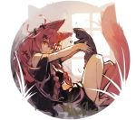 1girl animal animal_ears bangs bare_legs bare_shoulders barefoot black_dress braid cat closed_mouth dress fox_ears fox_girl fox_tail hair_between_eyes hair_ornament head_tilt holding holding_animal holding_cat long_hair looking_at_viewer looking_to_the_side original red_eyes redhead sketch solo tail twin_braids very_long_hair window x_hair_ornament yuuji_(yukimimi)