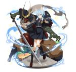 1girl animal_ears black_legwear black_ribbon black_skirt blue_hair brown_footwear brown_hakama cat_ears cat_tail forked_tongue full_body hair_ribbon hakama helmet high-waist_skirt holding holding_sword holding_weapon jacket japanese_clothes katana kneehighs mask neck_ribbon outstretched_arm pleated_skirt red_ribbon ribbon school_uniform shinon_(sao-alo) shoes short_hair_with_long_locks sidelocks simple_background skirt spaulders sword sword_art_online tail tongue uniform weapon white_background