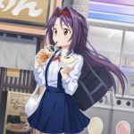 1girl ahoge bag blue_skirt casual cowboy_shot dress_shirt floating_hair food hairband holding holding_food long_hair miniskirt neck_ribbon outdoors pleated_skirt purple_hair red_eyes red_hairband red_ribbon ribbon road school_bag shirt skirt solo standing steam street suspender_skirt suspenders sword_art_online very_long_hair white_shirt yuuki_(sao)