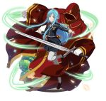 1girl asuna_(sao-alo) black_jacket black_skirt blue_eyes blue_hair brown_footwear floating_hair gloves grey_legwear holding holding_sword holding_weapon jacket long_hair looking_at_viewer miniskirt neck_ribbon one_leg_raised outstretched_arms pantyhose pleated_skirt pointy_ears red_cloak red_ribbon ribbon school_uniform shirt shoes simple_background skirt smile standing standing_on_one_leg sword sword_art_online uniform very_long_hair weapon white_background white_gloves white_shirt