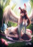 1girl alexandra_mae animal_ears arm_support artist_name bare_shoulders blue_sky breasts brown_eyes brown_hair brown_legwear cleavage clouds commentary d.va_(overwatch) day easter easter_egg egg eggshell elbow_gloves facepaint facial_mark feathered_wings feathers full_body gloves grass headphones lace lace-trimmed_thighhighs leotard light_rays light_smile lips long_hair looking_at_viewer medium_breasts outdoors overwatch pink_lips rabbit_ears signature sitting sky solo strapless strapless_leotard sunlight thigh-highs watermark web_address whisker_markings white_feathers white_gloves white_leotard white_wings wings yokozuwari