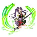 1girl :d alternate_hairstyle boots detached_sleeves frilled_skirt frills full_body guitar hairband high_heel_boots high_heels instrument long_hair miniskirt open_mouth pleated_skirt pointy_ears purple_hair red_eyes skirt smile solo star sword_art_online twintails very_long_hair white_background white_hairband yuuki_(sao)