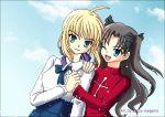 2girls :) ;d ahoge artoria_pendragon_(all) black_hair blonde_hair blue_eyes closed_mouth clouds crazy-megame deviantart fate/stay_night fate_(series) green_eyes hair_ribbon holding_hands long_hair one_eye_closed open_mouth ribbon saber sky sweater tohsaka_rin turtleneck turtleneck_sweater twintails wink