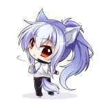 1girl animal_ears bangs barefoot black_pants blush chibi closed_mouth commentary_request eyebrows_visible_through_hair hair_between_eyes jacket long_hair looking_at_viewer looking_back original pants ponytail red_eyes shachoo. silver_hair solo standing tail track_jacket track_pants track_suit very_long_hair white_background white_jacket wolf_ears wolf_girl wolf_tail