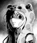 1girl commentary_request creepy empty_eyes highres horned_hood kaigara_suupu monochrome nemoto_hina open_mouth portrait school_uniform shaded_face solo watashi_ga_motenai_no_wa_dou_kangaetemo_omaera_ga_warui!