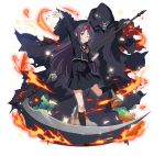 1girl ;d ahoge arm_up black_cloak black_jacket black_legwear black_skirt brown_footwear clenched_hand cloak fire floating_hair grin headband high-waist_skirt holding holding_weapon hood hooded_cloak jacket kneehighs long_hair looking_at_viewer neck_ribbon one_eye_closed one_leg_raised open_mouth pleated_skirt pointy_ears purple_hair red_eyes red_ribbon ribbon school_uniform scythe shirt shoes simple_background skirt smile standing standing_on_one_leg sword_art_online uniform very_long_hair weapon white_background white_shirt yuuki_(sao)