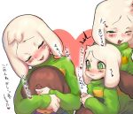 /\/\/\ 2boys asriel_dreemurr blush brown_hair child claws covering_another's_eyes fangs frisk_(undertale) furry heart male_focus multiple_boys muraachi one_eye_closed open_mouth parted_lips shirt spoilers striped striped_shirt sweatdrop translation_request undertale white_hair