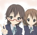 2girls brown_eyes brown_hair core_(mayomayo) glasses hirasawa_yui k-on! manabe_nodoka multiple_girls red-framed_glasses school_uniform semi-rimless_glasses short_hair under-rim_glasses v