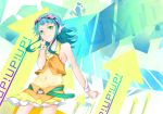belt blue_hair directional_arrow goggles green_eyes gumi hand_on_headphones headphones headset highres short_hair skirt smile solo vocaloid wrist_cuffs yamatoba