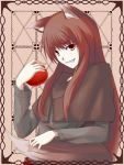 apple brown_hair fang food fruit highres holding holding_fruit holo kauto long_hair spice_and_wolf tail wolf_ears