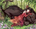 black_hair black_panther cat_ears child dress elbow_gloves flower gloves hat leopard long_hair manle mini_top_hat mushroom original red_dress tail thigh-highs thighhighs top_hat tree yellow_eyes