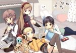 black_hair blonde_hair blue_eyes bow_(instrument) brown_eyes brown_hair child colored_eyelashes dress flute headband headphones instrument jeans juke long_hair multiple_girls music_stand original piano pocky red_eyes red_hair redhead sheet_music shirt short_hair skirt stuffed_animal stuffed_toy thigh-highs thighhighs upright_piano wavy_hair zettai_ryouiki
