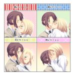 androgynous axis_powers_hetalia blonde_hair blush brown_hair green_eyes highres kiss_chart lithuania_(hetalia) male multiple_boys necktie poland_(hetalia) ponytail shiro_kiyama translated yaoi