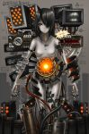 black_hair breasts cable flower gia glow glowing grey_skin hair_over_one_eye highres ivy machine no_nipples orange_eyes original science_fiction screen short_hair solo tattoo topless wire