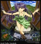 barefoot blue_hair dress english foreshortening frog furude_rika gate higurashi_no_naku_koro_ni junkparts long_hair purple_eyes stairs violet_eyes wading water
