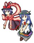 2girls blue_hair bow chibi food fruit hat hinanawi_tenshi long_hair lowres multiple_girls nagae_iku peach purple_hair simple_background sitting touhou tsurukou_(tksymkw) white_background