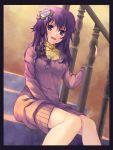 braid flower hair_flower hair_ornament highres long_hair looking_at_viewer matsugawa original purple_eyes purple_hair sitting smile stairs sweater_dress turtleneck violet_eyes