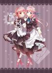 2girls blue_eyes cup dress dress_lift heart heart_of_string long_hair maid maid_headdress multiple_girls nekozuki_yuki open_mouth original pantyhose pink_eyes pink_hair short_hair smile teacup teapot