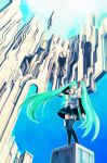 hand_on_head hatsune_miku highres hironox sky twintails vocaloid