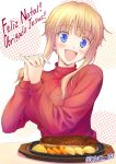 1girl :d blonde_hair blue_eyes blush fang food gt_(acidhead_gt) hand_holding happy kuneru_marta long_hair looking_at_viewer marta open_mouth portuguese smile solo sweater turtleneck