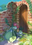 blue_sky copyright_request day flower game_freak grass highres holding ivy nintendo no_humans outdoors pippi_(pixiv_1922055) pokemon red_eyes ruins sky watering watering_can  _ 
