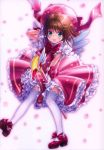 1girl :d absurdres blush bow brown_hair card_captor_sakura cherry_blossoms dress fuuin_no_tsue gloves goto_p green_eyes hand_behind_head hat highres holding kinomoto_sakura magical_girl open_mouth outstretched_arm petals petticoat pink_dress pink_hat pink_ribbon red_bow red_footwear ribbon scan short_sleeves smile solo thigh-highs white_background white_gloves white_legwear