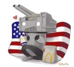 american_flag american_flag_print artist_name cannon cup disposable_cup flag_print heart kantai_collection mcdonald's no_humans o_o pillow rensouhou-kun retorillo simple_background solo turret white_background