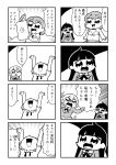 3girls 4koma :> arms_up bangs bikini bkub blazer comic confused emphasis_lines eyebrows_visible_through_hair greyscale hair_ornament hairclip highres jacket kurei_kei long_hair looking_up monochrome multiple_girls necktie open_mouth pointing programming_live_broadcast pronama-chan shaded_face shirt short_hair simple_background speech_bubble stylus sweatdrop swimsuit tablet_pc talking translation_request twintails two-tone_background undone_necktie