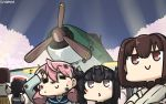 3girls ahoge aircraft airplane akashi_(kantai_collection) black_hair black_sailor_collar blue_sailor_collar brown_eyes brown_hair closed_eyes crossed_arms dirty_clothes e16a_zuiun hachimaki hair_flaps hair_ribbon hamu_koutarou hatsuzuki_(kantai_collection) headband highres hyuuga_(kantai_collection) inset japanese_clothes kantai_collection long_hair long_sleeves multiple_girls nontraditional_miko pink_hair ribbon sailor_collar short_hair smile tress_ribbon undershirt upper_body
