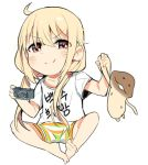1girl ahoge barefoot blonde_hair blush boyshorts chibi closed_mouth clothes_writing commentary_request futaba_anzu handheld_game_console holding idolmaster idolmaster_cinderella_girls indian_style korean korean_commentary long_hair looking_at_viewer low-tied_long_hair playstation_portable red_eyes shirt short_sleeves sitting smile solo tuxedo_de_cat very_long_hair whisker_markings white_shirt