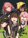 5girls ar-15 armband assault_rifle bandaid bangs black_gloves black_hair black_neckwear blonde_hair blue_eyes blush braid breasts brown_eyes brown_hair closed_eyes closed_mouth covered_mouth deep_wound erere eyebrows_visible_through_hair eyepatch fang girls_frontline gloves gun hair_between_eyes hair_ornament half-closed_eyes headgear headphones heterochromia highres holding holding_gun holding_weapon hood hood_up hooded_jacket injury jacket long_hair looking_at_viewer m16a1_(girls_frontline) m4_carbine m4_sopmod_ii_(girls_frontline) m4a1_(girls_frontline) multicolored_hair multiple_girls necktie one_side_up open_mouth orange_eyes paint_splatter parted_lips pink_hair rain red_eyes redhead rifle ro635_(girls_frontline) scarf scope side_ponytail sidelocks smile st_ar-15_(girls_frontline) streaked_hair walkie-talkie weapon white_hair yellow_eyes