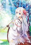 1girl azur_lane bangs bare_tree black_gloves blue_eyes blue_sky blunt_bangs blurry blurry_background closed_mouth eyebrows_visible_through_hair flower from_behind gloves hair_flower hair_ornament hair_over_shoulder highres holding hood hood_down japanese_clothes kimono light_rays long_hair looking_at_viewer looking_back mutang nape open_mouth outdoors partly_fingerless_gloves petals pond shoukaku_(azur_lane) sidelocks silver_hair sky smile solo tassel tree wide_sleeves wind