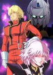 1boy 1girl 80s blonde_hair blue_eyes char_aznable eyewear_removed gloves glowing glowing_eyes gundam haman_karn hand_on_hip highres hyaku_shiki looking_at_another looking_at_viewer mecha military military_uniform milky_way neo_zeon oldschool pilot_uniform pink_hair quattro_vageena redesign science_fiction space spacesuit star star_(sky) starry_background tagme uniform upper_body violet_eyes waeba_yuusee