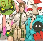 1girl amoonguss breasts cowboy_shot cradily ferrothorn gen_3_pokemon gen_4_pokemon gen_5_pokemon glasses_girl_(nameo) green_eyes green_neckwear highres huge_breasts long_hair looking_at_viewer nameo_(judgemasterkou) necktie original plant poke_ball pokemon pokemon_(creature) smile striped tangrowth vines yellow_eyes