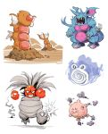 bummerdude claws clefairy closed_mouth commentary creature digging diglett exeggutor explosion fangs floating gastly gen_1_pokemon ghost grin gyarados highres hole_on_body horns koffing multiple_heads nidoking no_humans open_mouth pokemon pokemon_(creature) poliwhirl simple_background smile smoke spiral standing voltorb walking white_background zubat